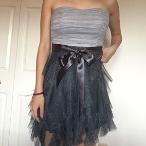 Dual tone grey tulle prom dress